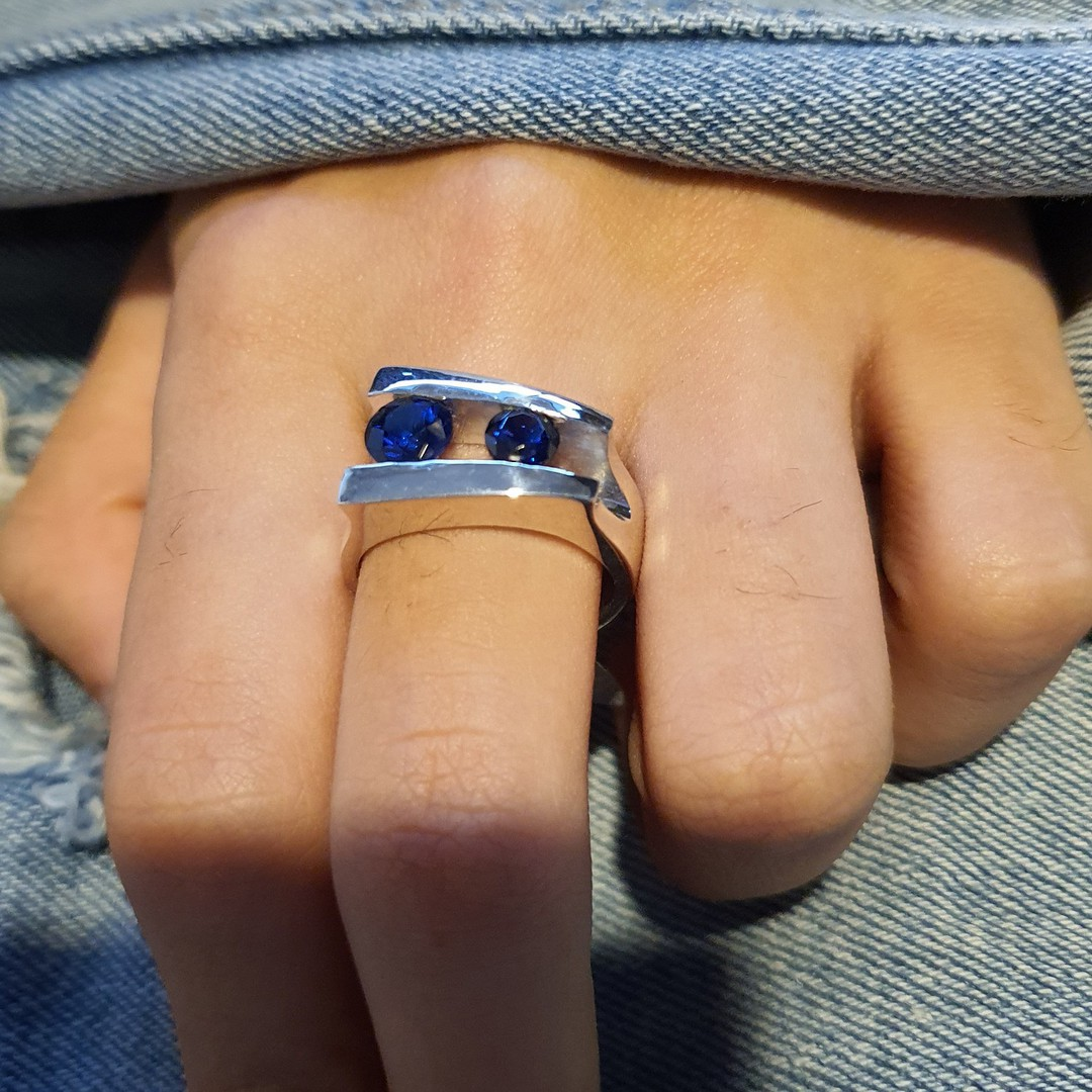 Sterling silver blue gemstone ring, made in NZ image 3