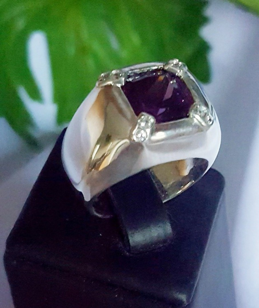 Large square purple stone ring, offset with cz - now on sale! image 0