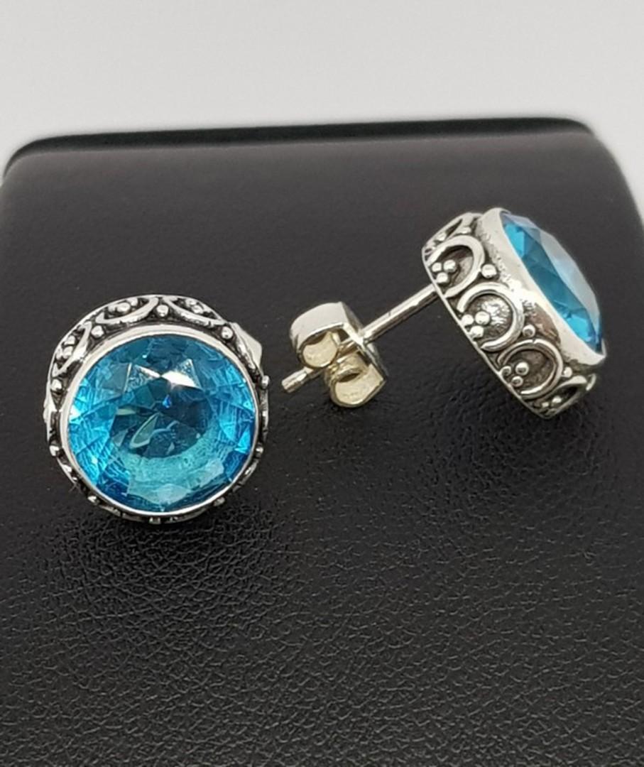 Alluring blue topaz stud earrings image 2