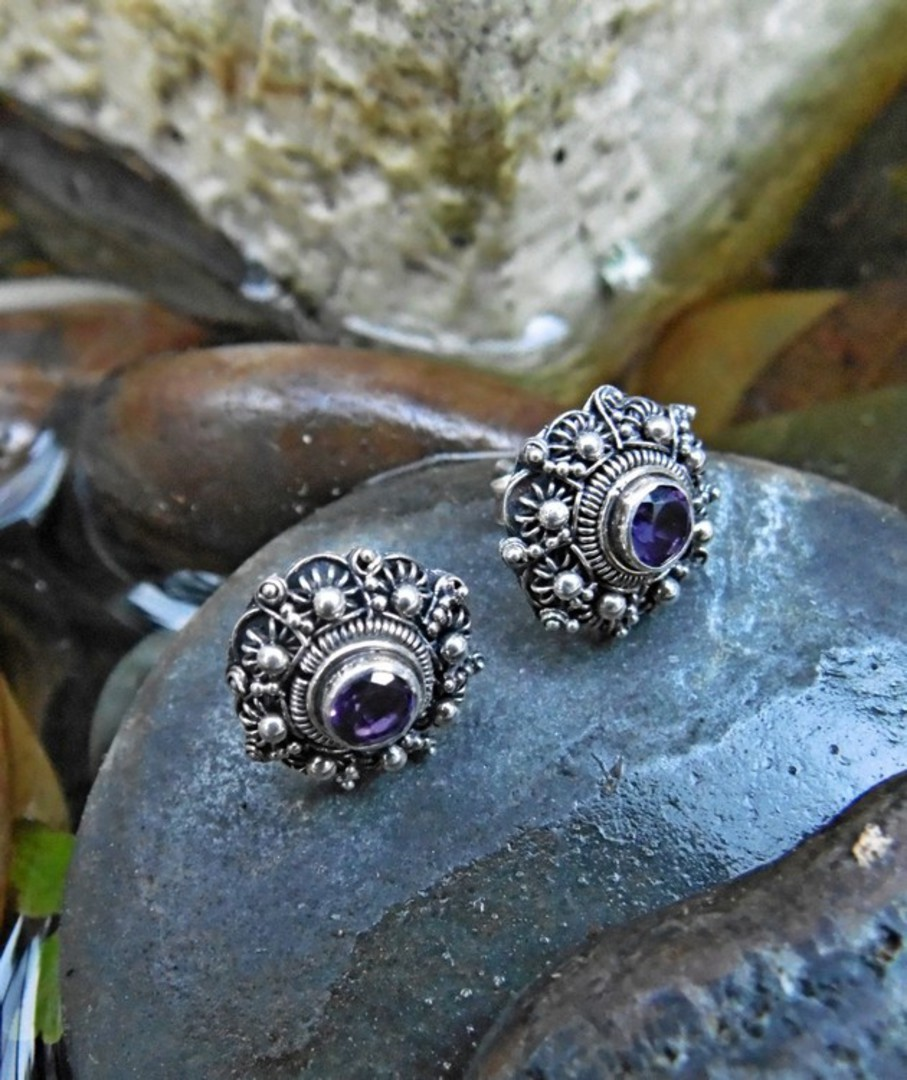 Filigree stud earrings with deep purple gemstone image 2
