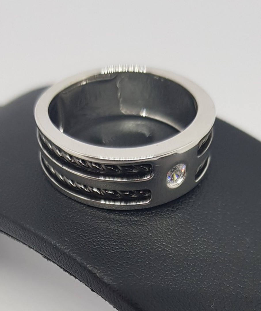 Sterling silver men's ring, wide band, single small cz in top image 1