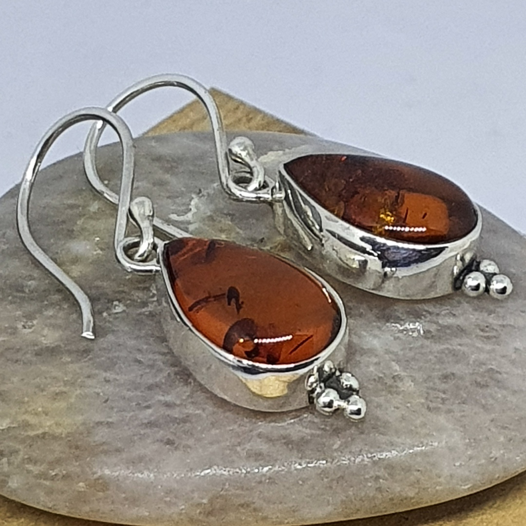 925 Sterling silver amber earrings image 0