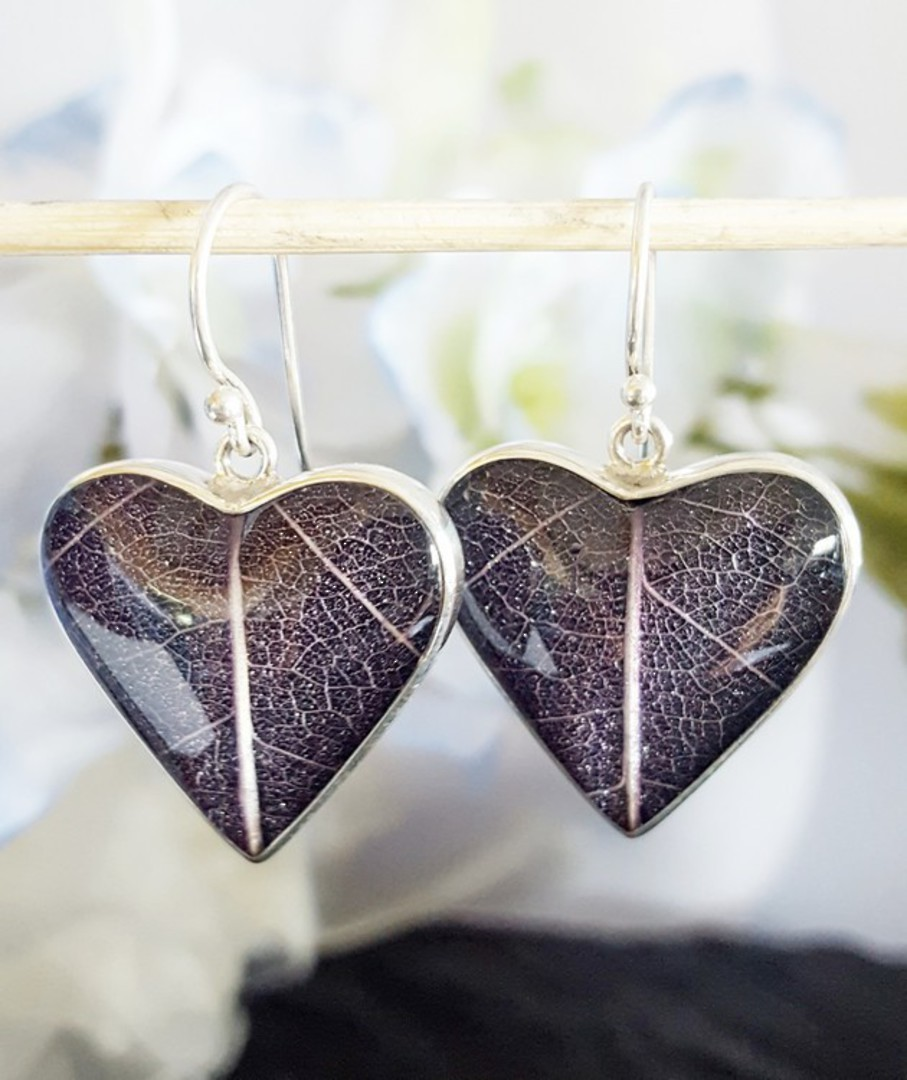 Purple skeleton leaf silver earrings - heart shaped image 1