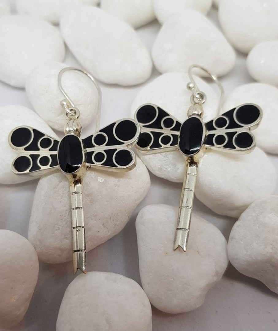 Black dragonfly earrings - now on sale image 2