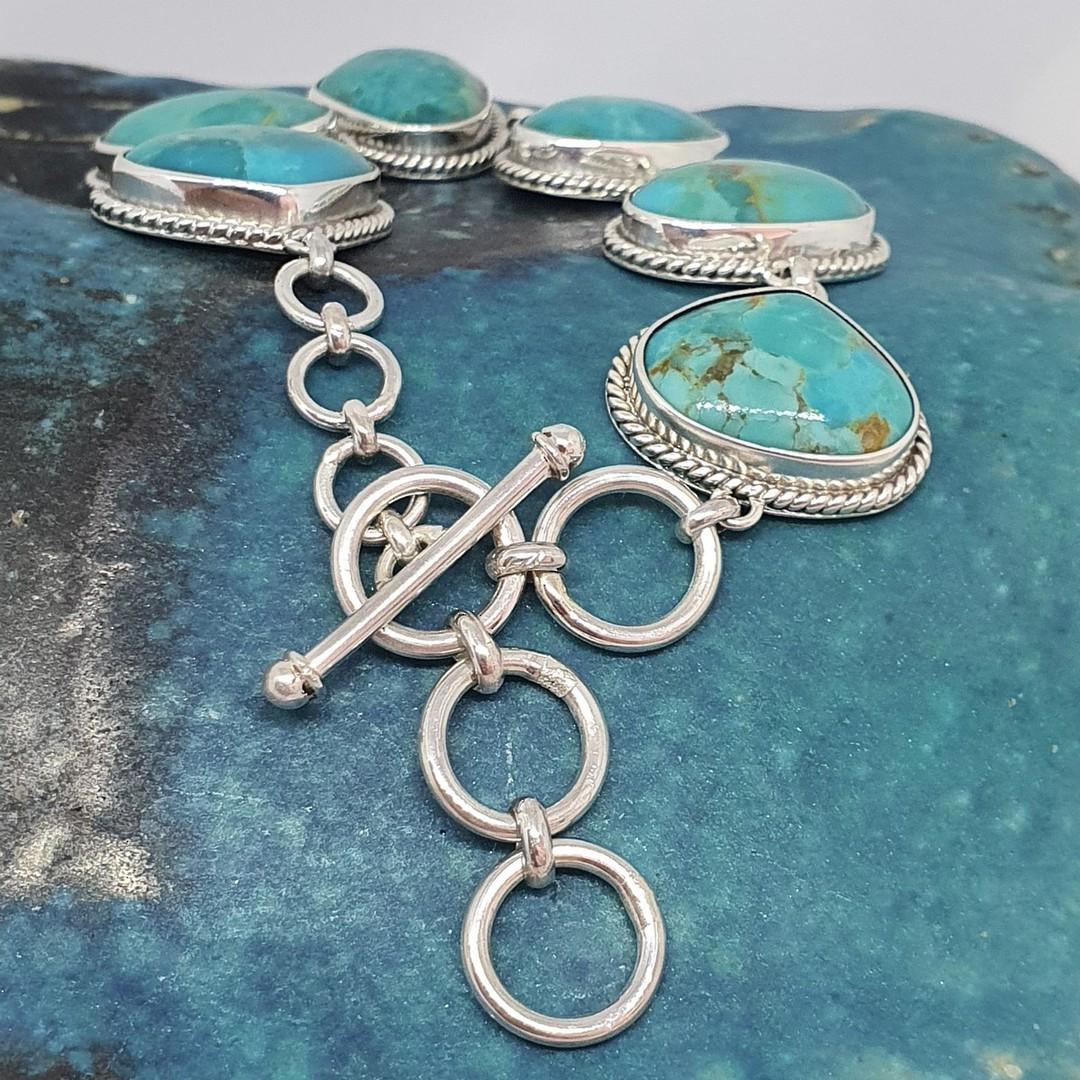 Sterling silver turquoise bracelet image 1