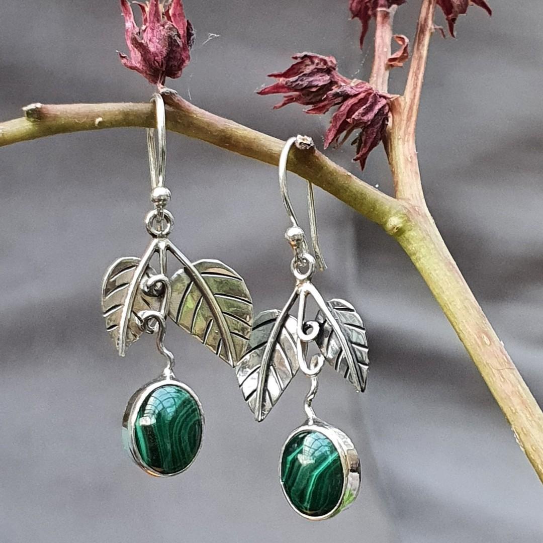 Sterling silver malachite gemstone earrings image 2