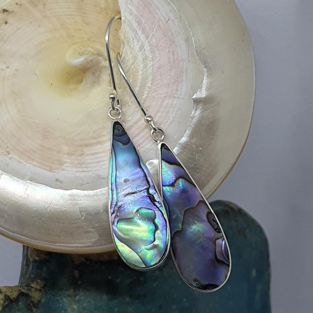 Elongated teardrop paua shell hook earrings image 2