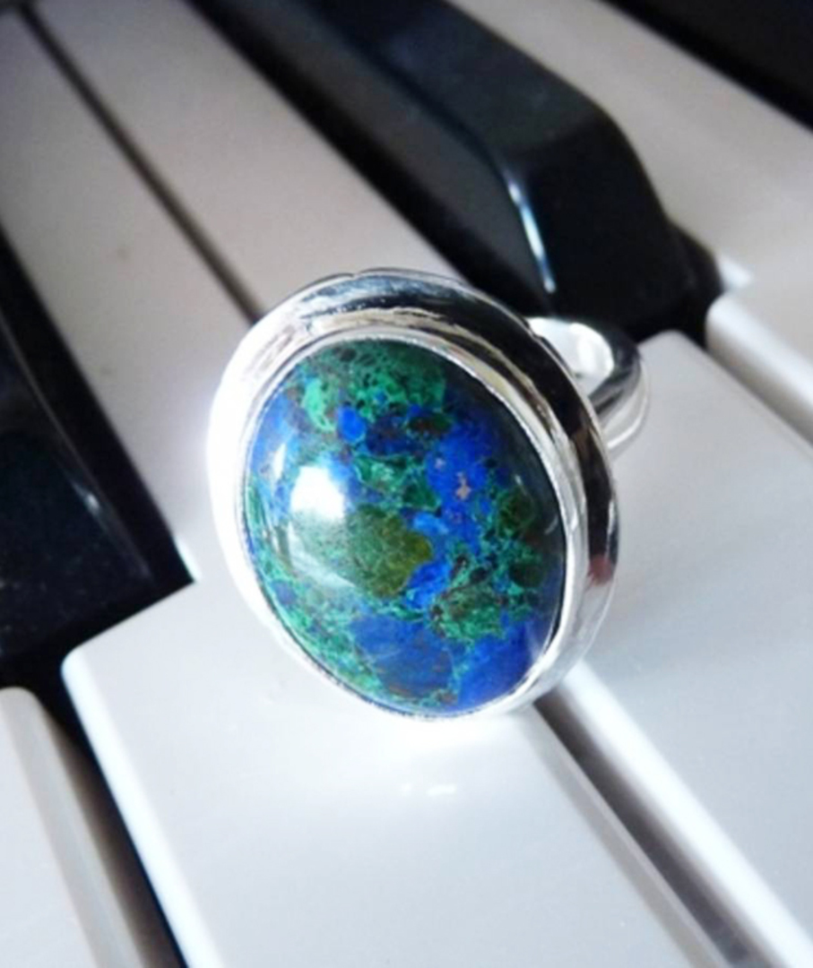 Large Azurite with Malachite silver ring | Made in NZ image 2