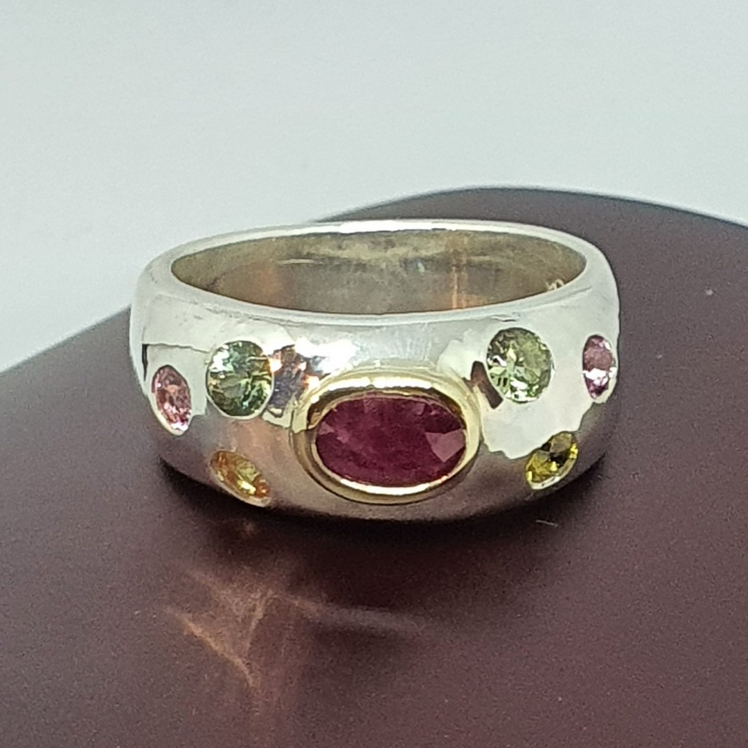 Made in NZ, silver ring with ruby and natural gemstones image 0