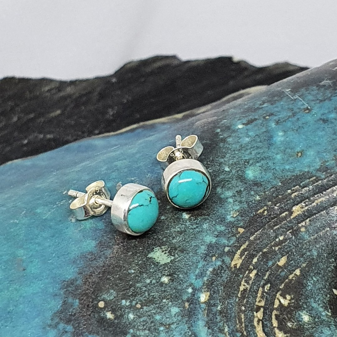 Sterling silver turquoise stud earrings image 1