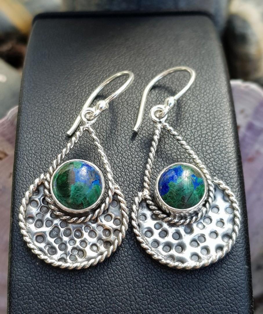 Sterling silver azurite malachite gemstone earrings image 2
