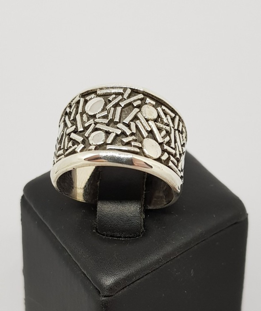 Sterling silver band with cool patterns image 1