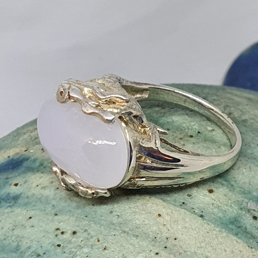 Sterling silver milky blue chalcedony ring image 1