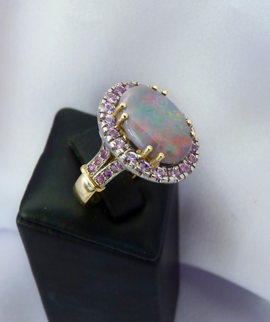 Opal and pink sapphire 18ct yellow gold dress ring image 2