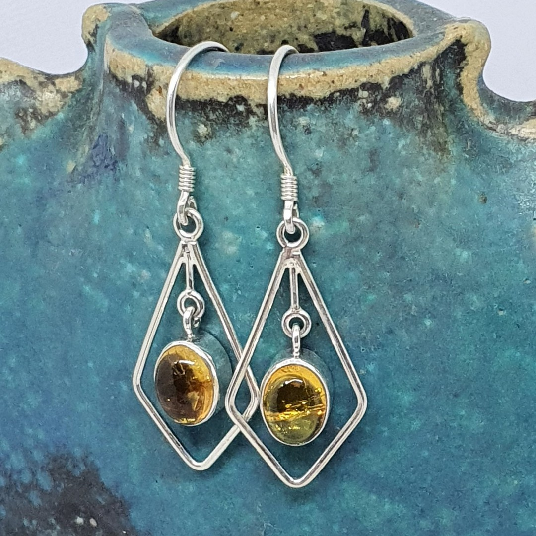 Silver hook earrings with oval citrine gemstone image 2