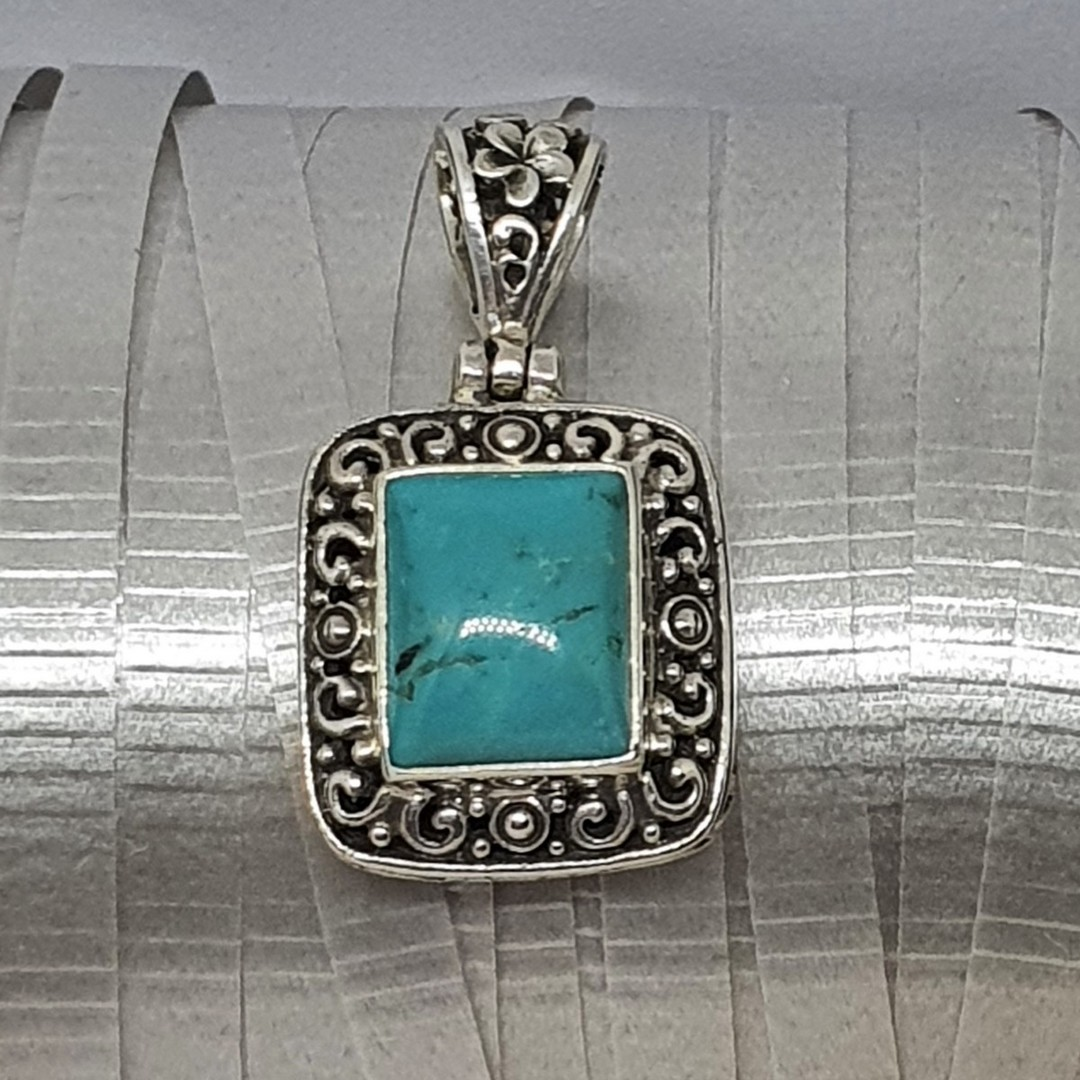 Sterling silver rectangle turquoise pendant image 1