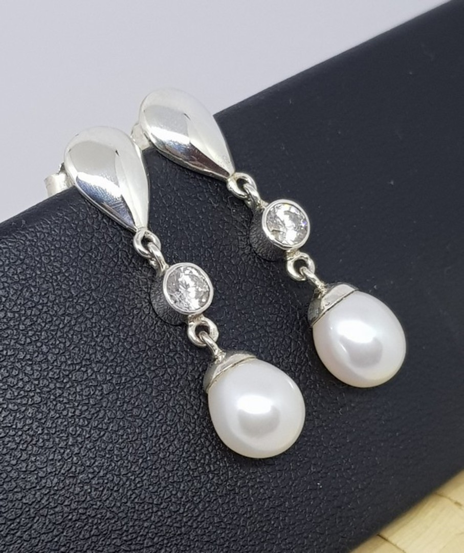 Fresh Water Pearl Drop Earrings with c/z sparkle image 3