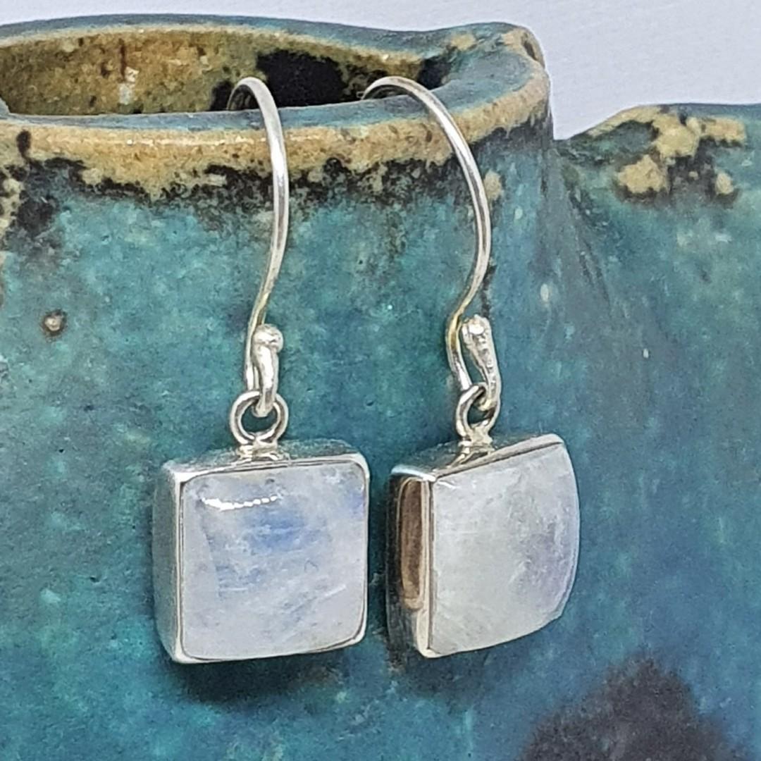 Square moonstone earrings image 0