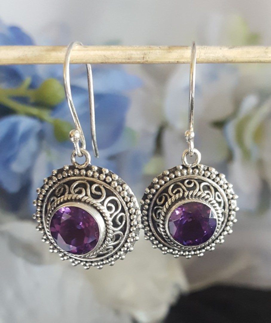 Silver earrings with purple stone image 2