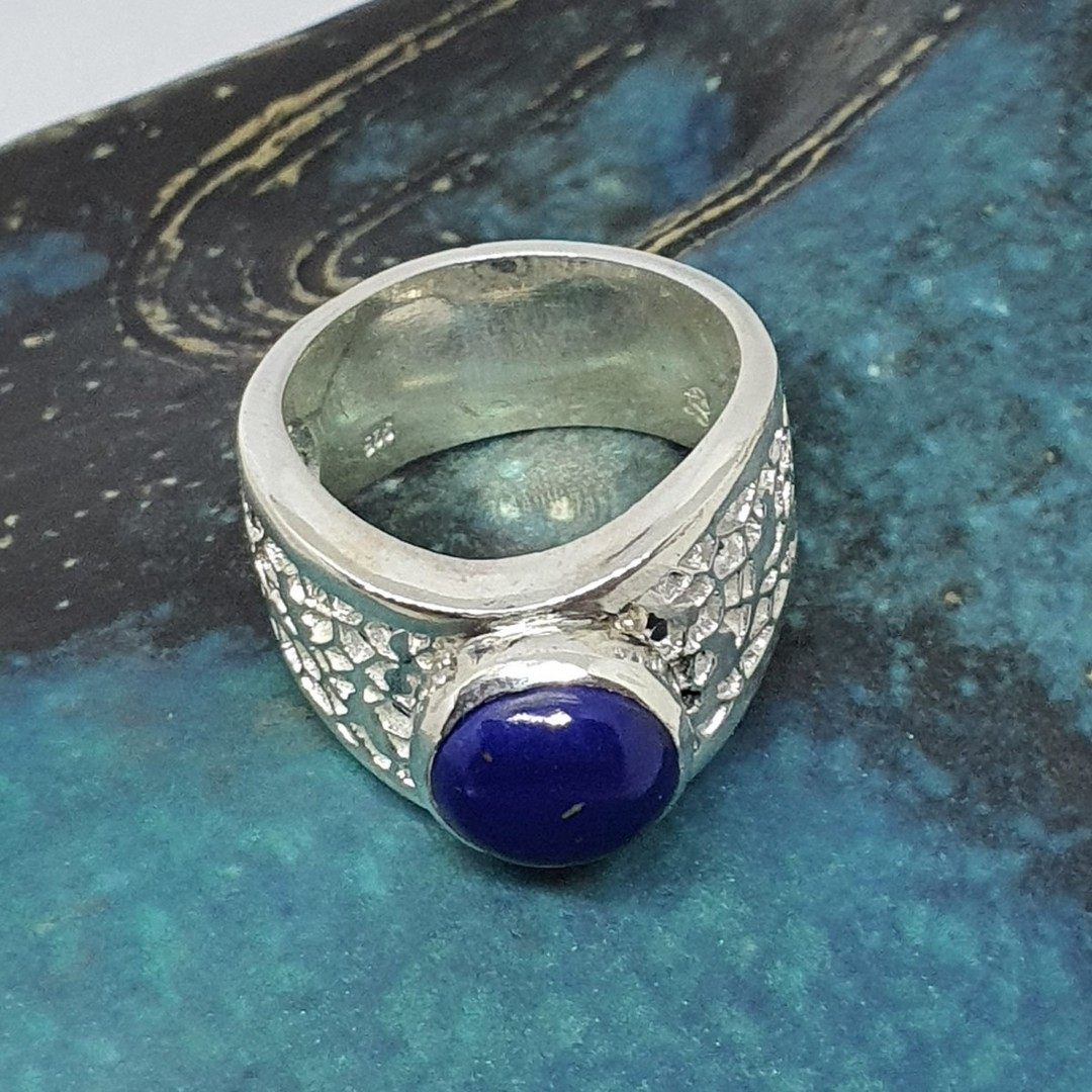 Chunky silver oval lapis lazuli ring - made in NZ image 4