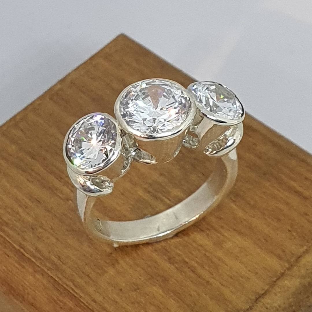 New Zealand made silver cubic zirconia ring image 1