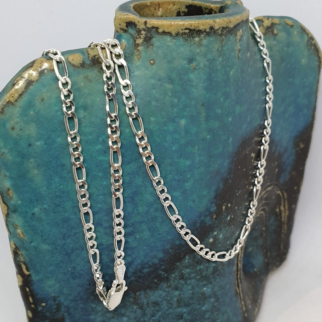 Sterling silver figaro chain, 60cms long image 0
