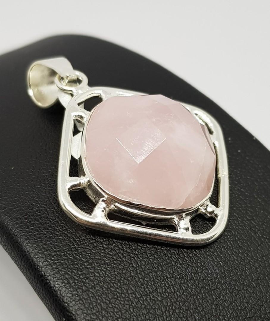 Sterling silver large facet cut rose quartz pendant image 0