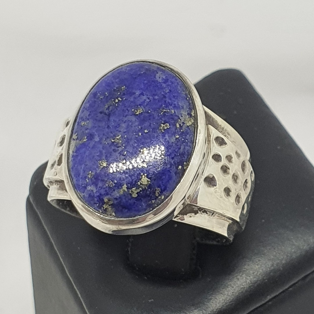 Sterling silver oval lapis lazuli ring image 0