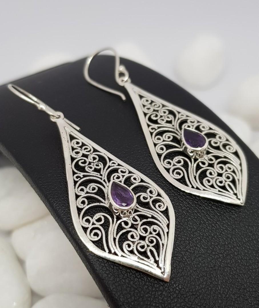 Silver filigree earrings with purple gemstone image 0