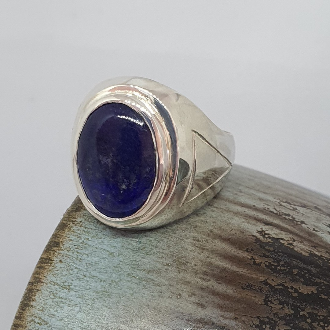 Chunky silver oval lapis lazuli ring - made in NZ image 2