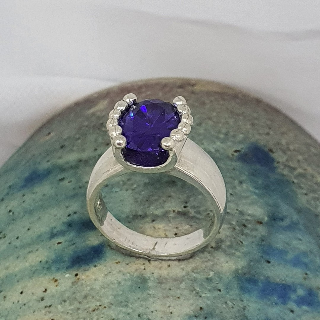 Silver ring with deep purple stone - made in NZ image 2