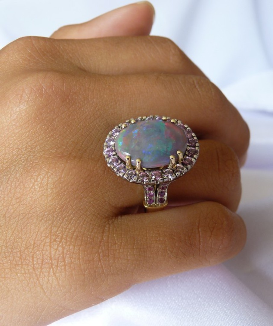 Opal and pink sapphire 18ct yellow gold dress ring image 3