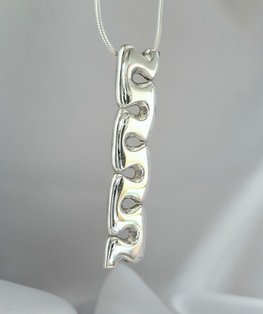 Curved wave of sterling silver pendant image 1