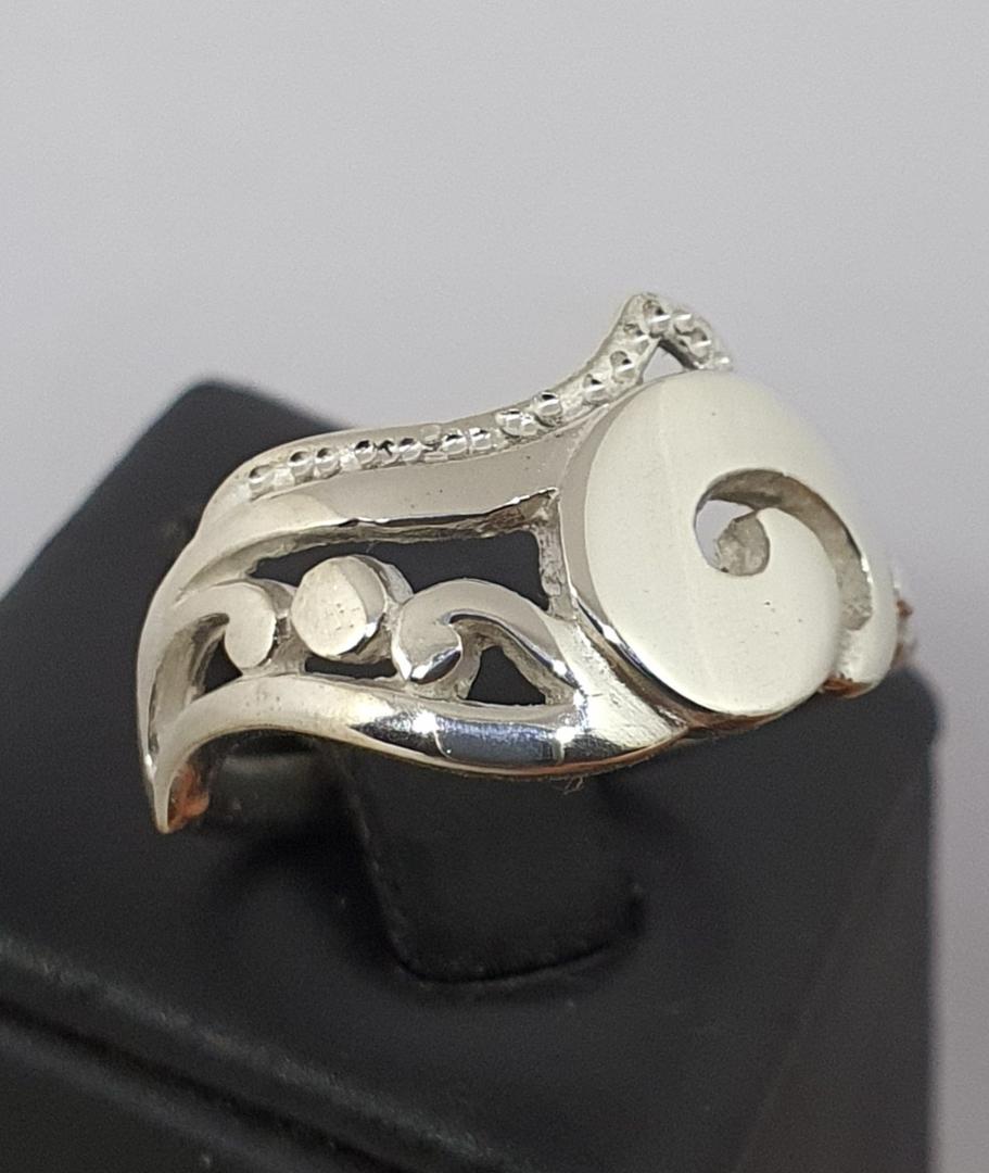 Sterling silver koru ring, made in NZ image 0