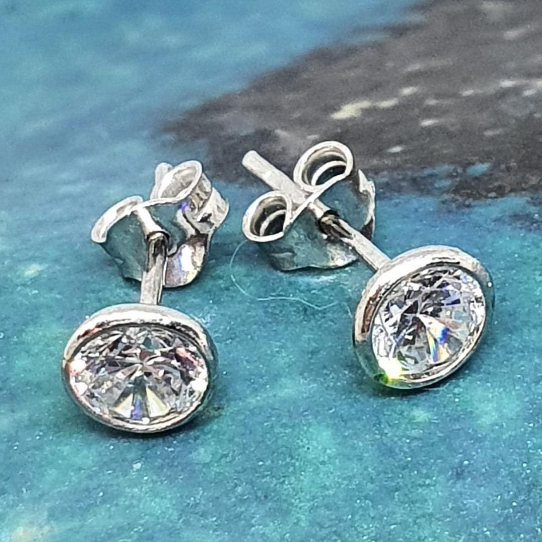 Silver cubic zirconia stud earrings image 0