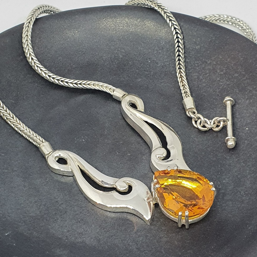 Made in NZ  - Silver citrine necklace image 1