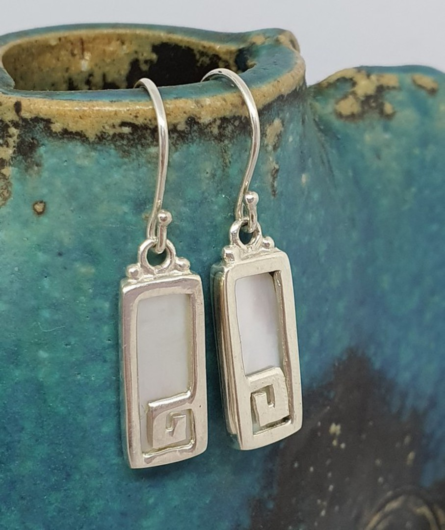 Mother of pearl rectangle earrings with koru detail image 1