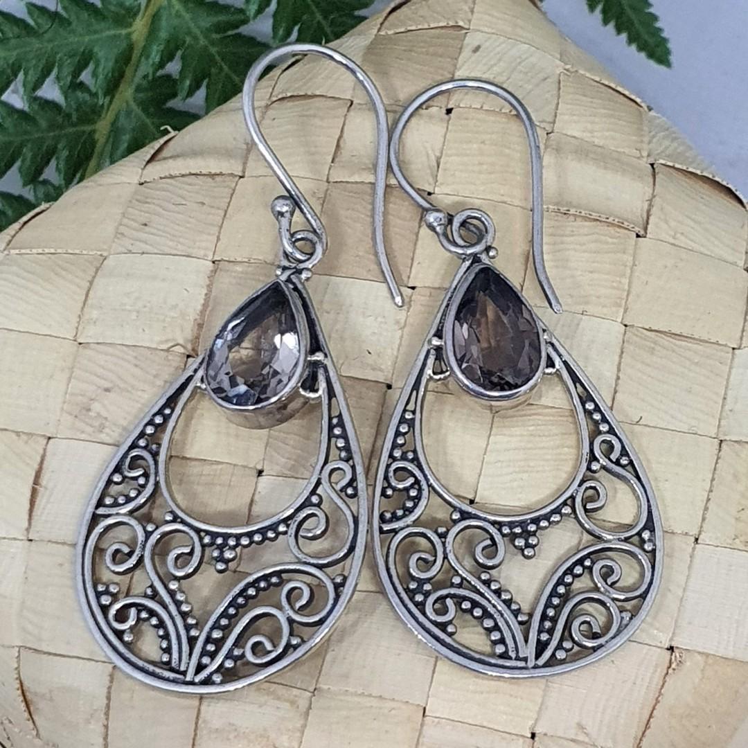Romantic filigree silver smoky quartz earrings image 0