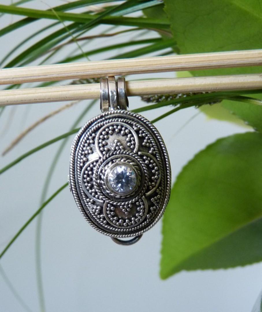 Oval filigree silver prayer or wish box pendant image 1