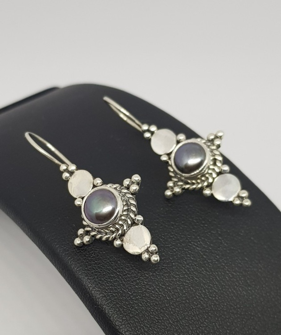 Long hook silver blue grey pearl earrings image 1