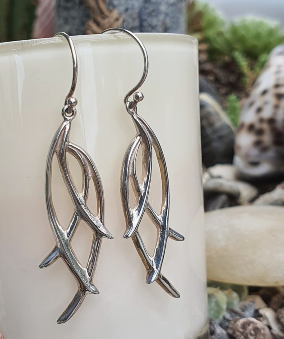Long silver abstract branch earrings image 1