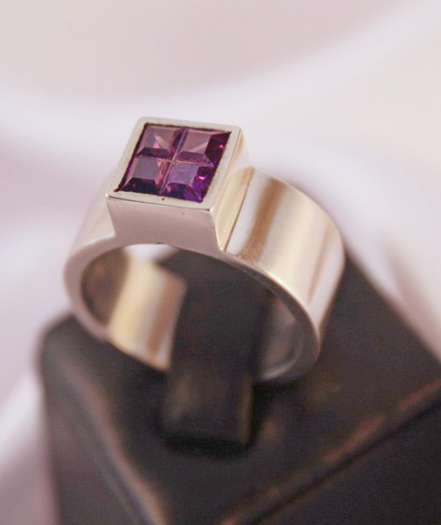 Sterling silver ring with deep purple stone image 0
