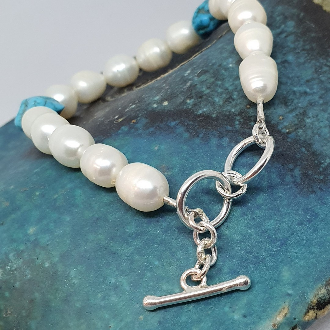 Fresh water pearls and tumbled turquoise bracelet image 1