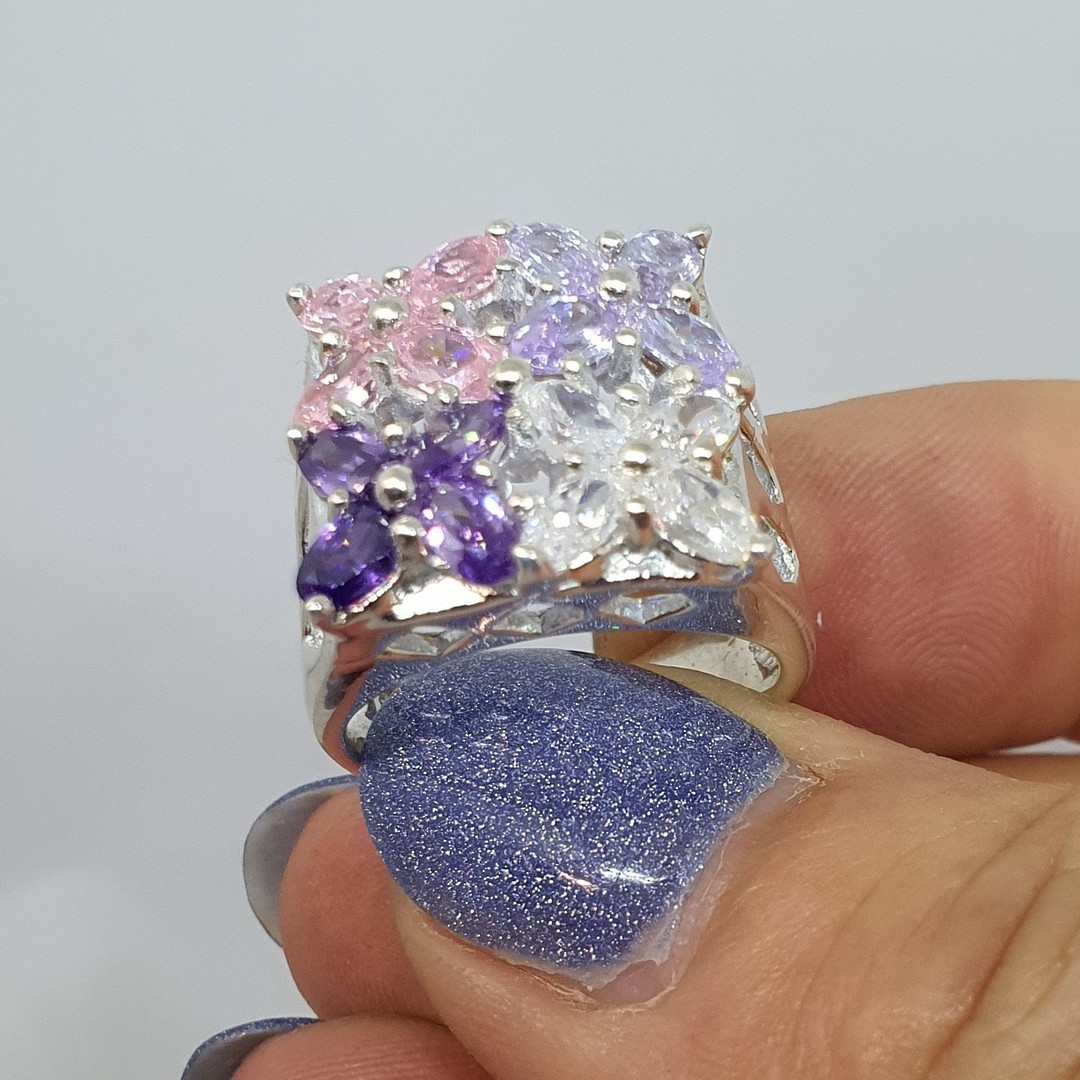 Flower dress ring with purple, pink and cz gems image 2