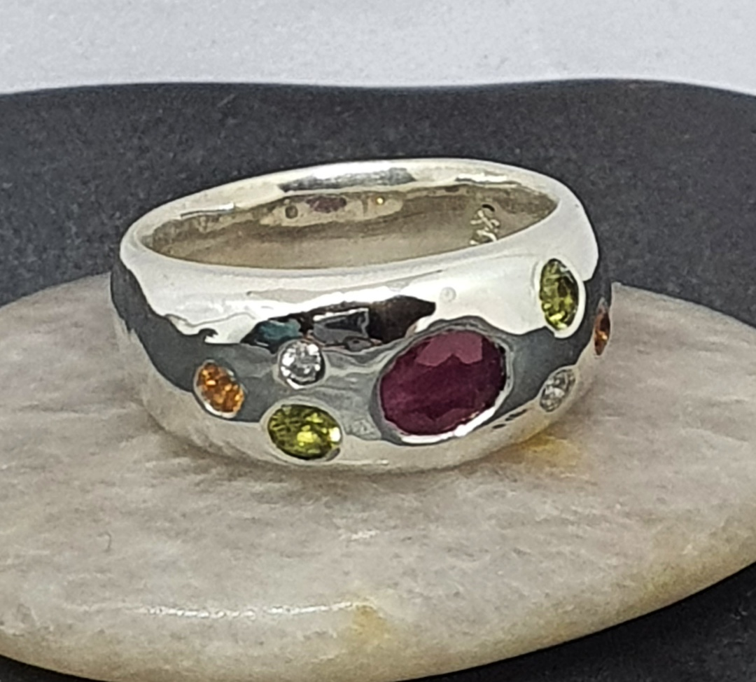 Silver dome ring with natural gemstones and diamonds image 2