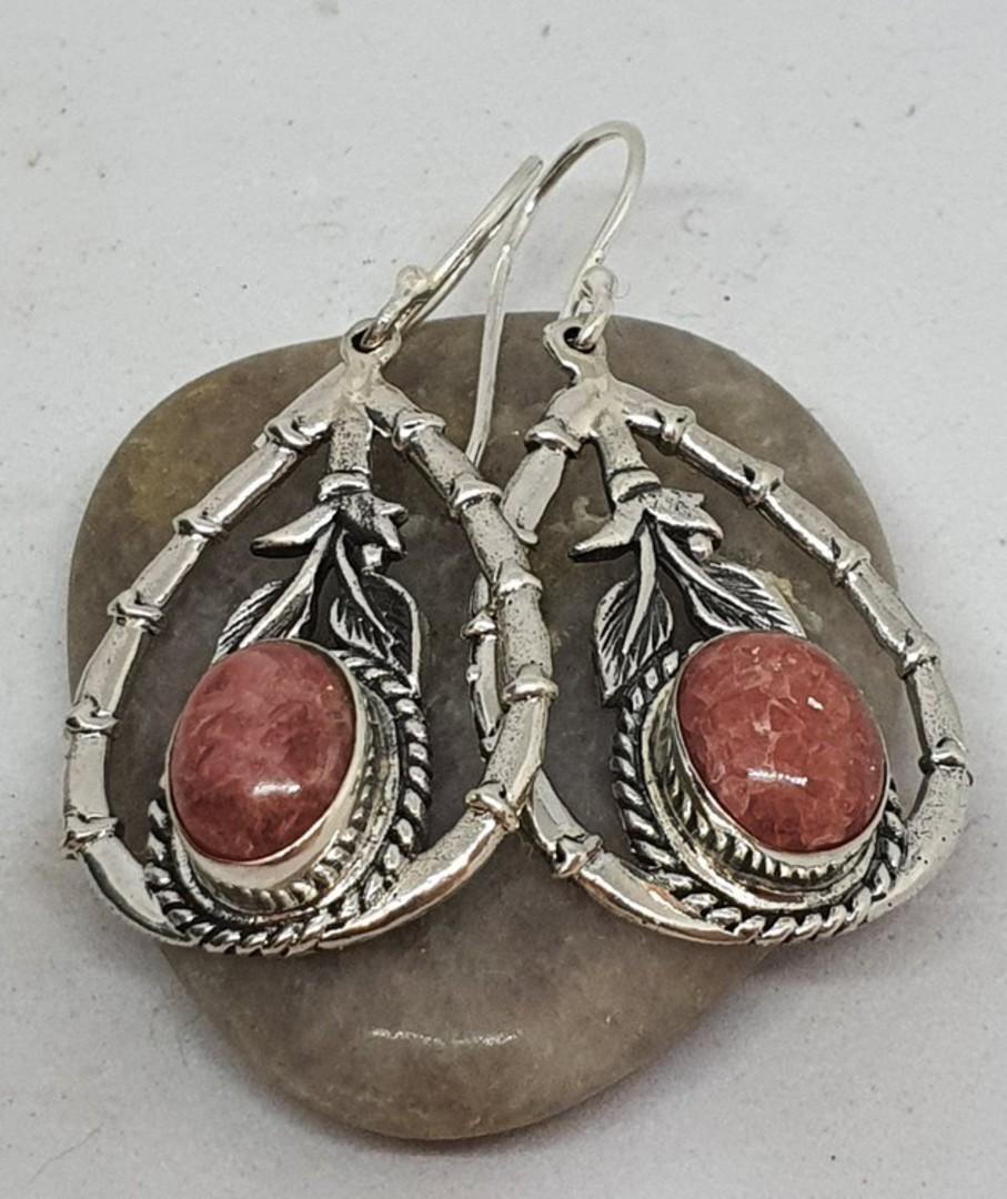 Sterling silver rhodochrosite gemstone eearrings image 0