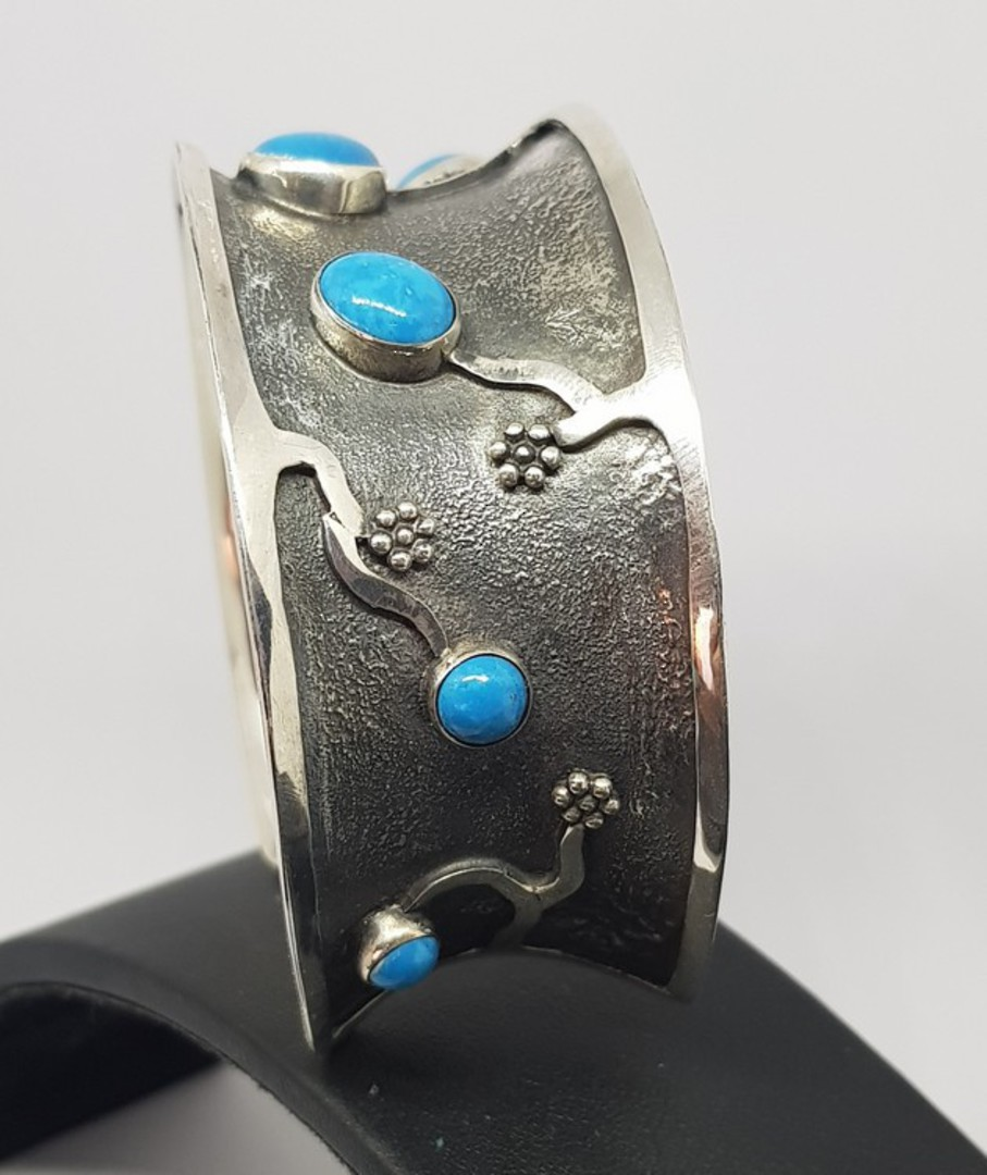 Sterling silver cuff bangle with turquoise gemstones image 1