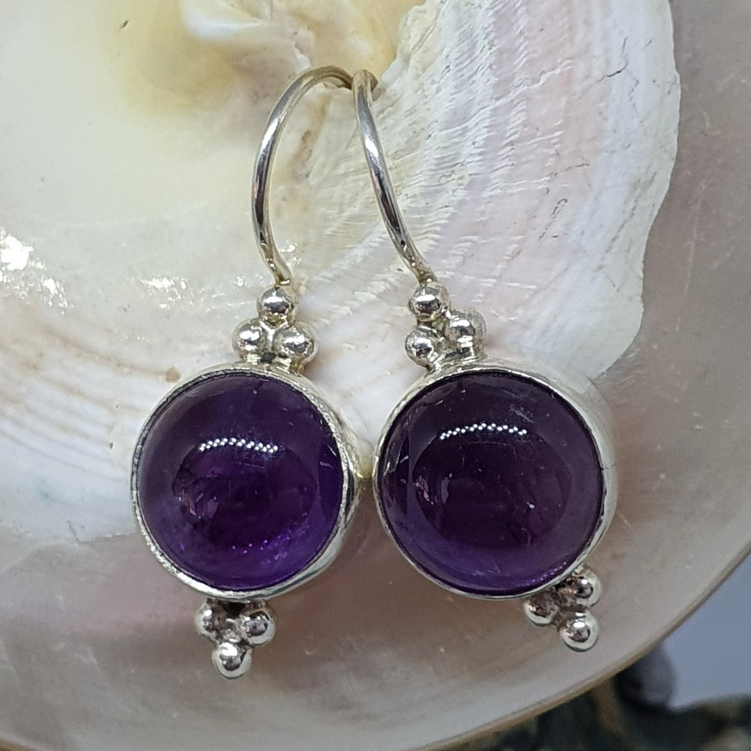 Silver earrings with natural amethyst gemstone image 0