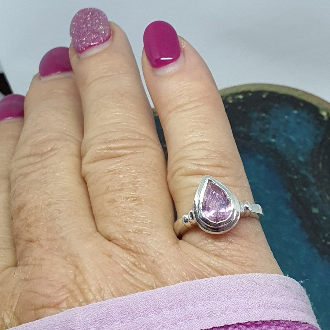 Silver ring with pink sparkling stone image 2