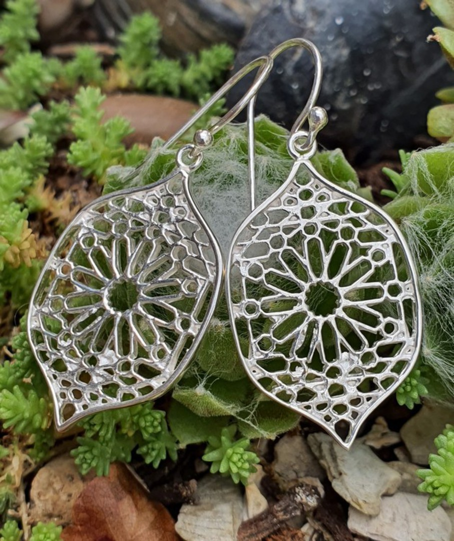 Sterling silver statement flower earrings image 3